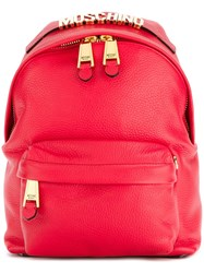 Moschino Logo Plaque Backpack Red