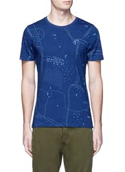 Denham Jeans 'Landloper' Map Print T Shirt Blue