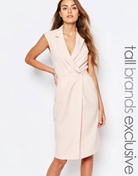 Alter Tall Wrap Front Sleeveless Dress With Lapels Blush