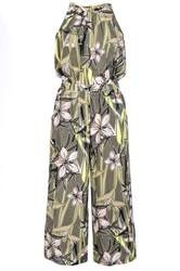 Quiz Khaki Tropical Print Jumpsuit Green