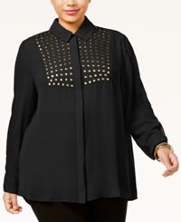Poetic Justice Trendy Plus Size Studded Blouse Black