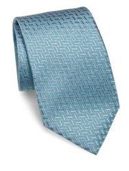 Charvet Embroidered Silk Tie Grey Acqua