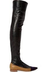 M Missoni Stretch Leather Thigh Boots Black