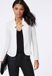 Missguided Cropped Ponte Blazer White