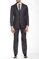 Hickey Freeman Charcoal Pinstripe Two Button Notch Lapel Wool Suit Gray