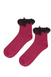 Topshop Glitter Double Lace Ankle Socks Berry Red