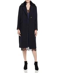 Whistles Bonnie Faux Fur Collar Coat 100 Bloomingdale's Exclusive Navy