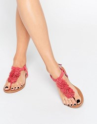 Daisy Street Coral Pom Pom Flat Sandal Coral Pink