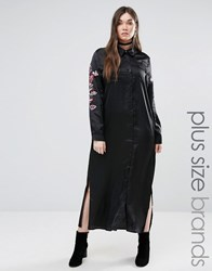 Alice And You Long Sleeve Maxi Shirt Dress With Sleeve Embroidery Black