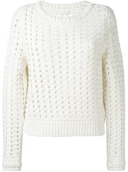 Chloe Open Knit Jumper Nude And Neutrals