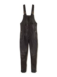 Chloe Zip Front Leather Overalls Brown