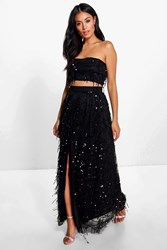 Boohoo Sequin Bandeau Top And Maxi Skirt Co Ord Black