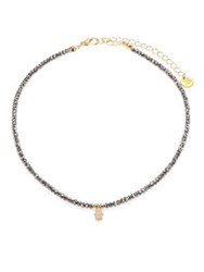 Jules Smith Designs Diana Faceted Hematite And Pave Hamsa Choker Gold Hematite