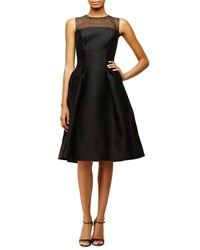 Carolina Herrera Sleeveless Sheer Yoke Cocktail Dress Black