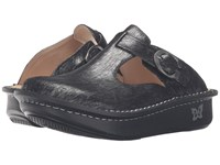 Alegria Classic Pewter Thumbprint Women's Clog Shoes Black