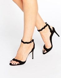 Aldo Carine 2 Part Heeled Sandals Black Suede