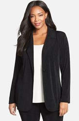 Plus Size Women's Vikki Vi One Button Stretch Knit Blazer