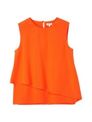 Kenzo Draped Silky Sleeveless Top Orange