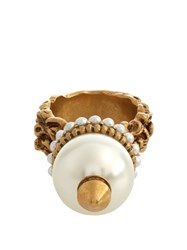 Gucci Spike And Faux Pearl Ring