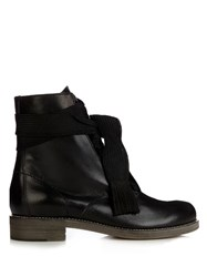 Chloe Harper Lace Up Leather Ankle Boots Black