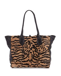 Reese Leather And Calf Hair Tote Bag Camel Black Lauren Merkin