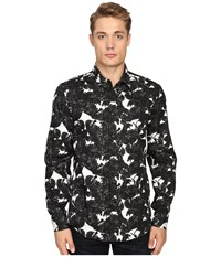 Just Cavalli Slim Fit Rebel Youth Pring Woven Shirt Black White