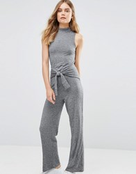 Noisy May Tie Waist Jumpsuit Med Grey Melange