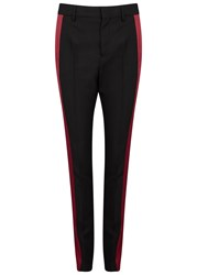 Haider Ackermann Two Tone Wool Tuxedo Trousers Black And Red