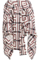 Vivienne Westwood Hope Asymmetric Printed Cotton Blend Mini Skirt Cream Burgundy