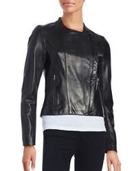 Karl Lagerfeld Asymmetrical Front Leather Moto Jacket Black