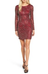 Lace And Beads Women's 'Brooklyn' Embellished Long Sleeve Sheath Dress Oxblood