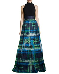 Theia Halter T Back Jersey Bodice Plaid Skirt Gown Cerulean Blue