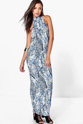 Boohoo Eva High Neck Low Armhole Aztec Maxi Dress Multi