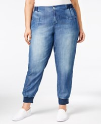 Standards And Practices Trendy Plus Size Medium Blue Wash Jogger Jeans