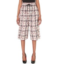 Anglomania Checked Stretch Cotton Culottes Nat W Blood Greek
