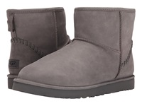 Ugg Classic Mini Deco Capra Grey Leather Men's Pull On Boots Gray