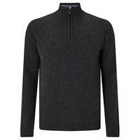 John Lewis Made In Italy Merino Cashmere Zip Neck Jumper Charcoal