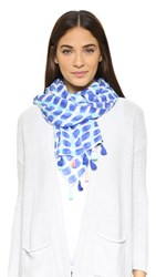 Kate Spade Island Stamped Texture Oblong Scarf Adventure Blue