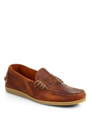 Walk Over Parks Leather Boat Shoes Cognac