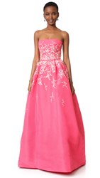 Monique Lhuillier Strapless Ball Gown Bubble Gum