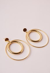 Missguided Double Hoop Retro Earrings Gold