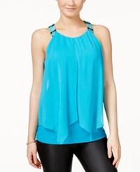 Amy Byer Bcx Juniors' Sleeveless Embroidered Split Front Blouse Turquoise
