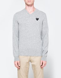 Comme Des Garcons Play V Neck Pullover In Light Grey