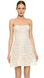 Monique Lhuillier Embroidered Strapless Mini Dress Silk White Nude