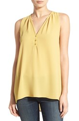 Junior Women's Lush Sleeveless High Low Tunic Top Mustard