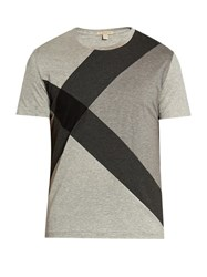 Burberry Colour Block Short Sleeved T Shirt Grey Multi