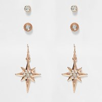 River Island Womens Rose Gold Tone Stud And Hoop Earrings Pack