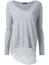 Bassike Scoop V Neck Long Sleeve T Shirt With Tail Grey