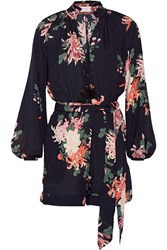 Rachel Zoe Ariel Printed Silk Georgette Playsuit Midnight Blue