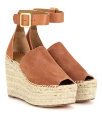 Chloe Suede And Leather Wedge Espadrilles Brown